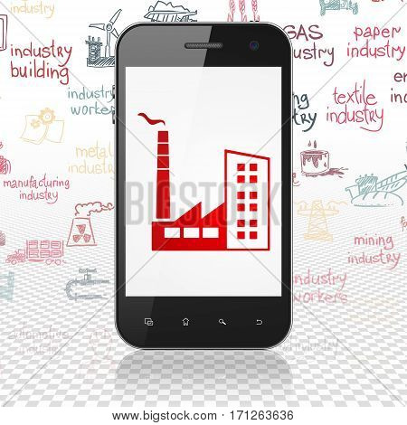 Industry concept: Smartphone with  red Industry Building icon on display,  Hand Drawn Industry Icons background, 3D rendering