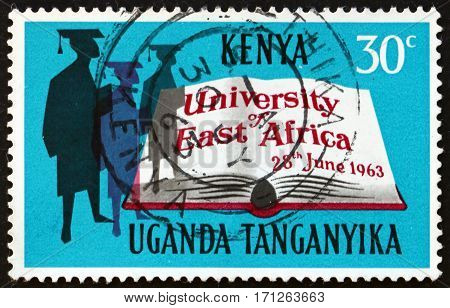 EAST AFRICAN POSTAL UNION - CIRCA 1963: a stamp printed in East African Postal Union (Kenya Uganda Tanganyika) shows Scholars and open book circa 1963