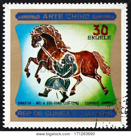 EQUATORIAL GUINEA - CIRCA 1977: a stamp printed in Equatorial Guinea shows Chinese Horse Painting Chinese Art Dynasty Wei a Sud-Sung circa 1977