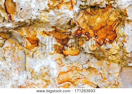 Sandstone cross section texture. Orange, yellow and beige background.
