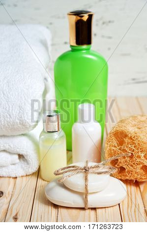 Bathroom Accessories And White Towel. Soap And Lotion. Beauty Care Accessories For Bath.