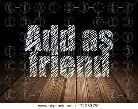 Social media concept: Glowing text Add as Friend in grunge dark room with Wooden Floor, black background with Scheme Of Binary Code