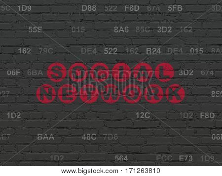 Social network concept: Painted red text Social Network on Black Brick wall background with Hexadecimal Code