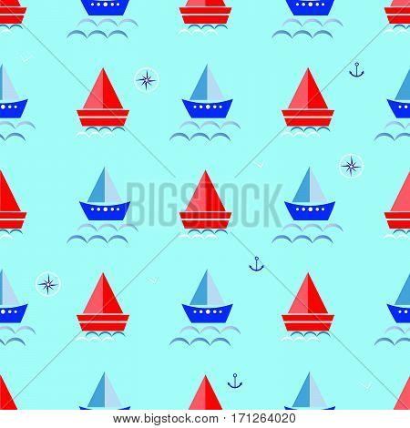 cartoon boat, sailboat blue background vector illustration  seamless pattern