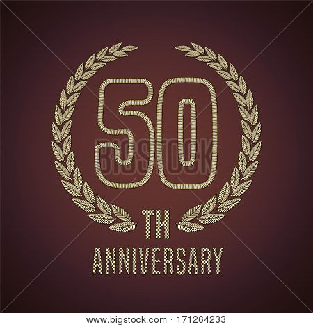 50 years anniversary vector icon, logo. Graphic design element with golden decorative branch for 50th anniversary card