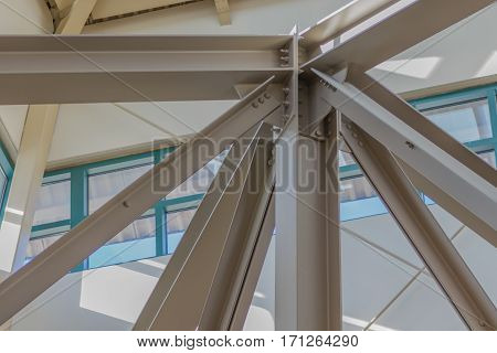 Architechtural steel support beams at a mall.