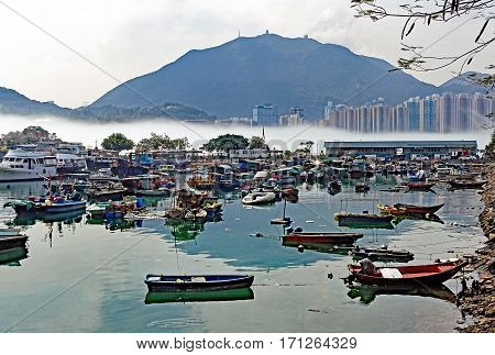 Mist over the water near the port of Lei Yue Mun in Hong Kong, China