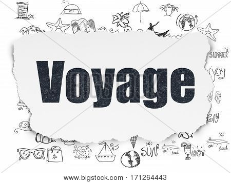 Tourism concept: Painted black text Voyage on Torn Paper background with  Hand Drawn Vacation Icons