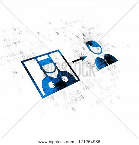 Law concept: Pixelated blue Criminal Freed icon on Digital background