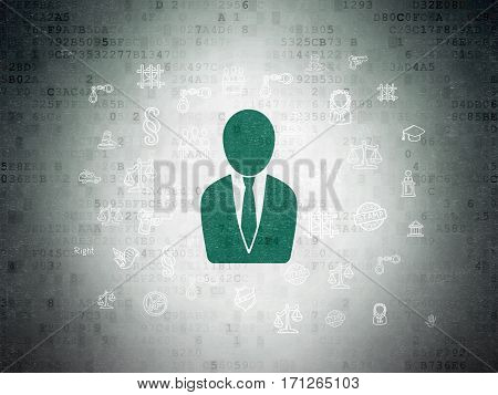 Law concept: Painted green Business Man icon on Digital Data Paper background with  Hand Drawn Law Icons