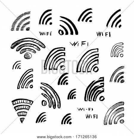Hand drawn sketch Wi-Fi icon vector illustration set of symbol doodles elements.