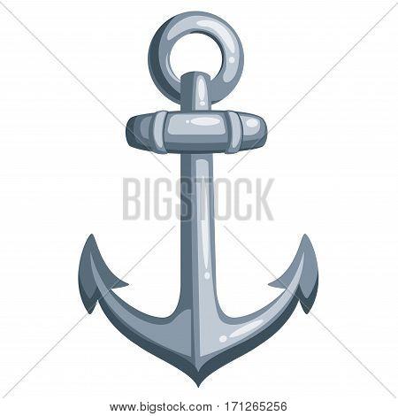 Cartoon metal ship anchor. Vector illustration on white background