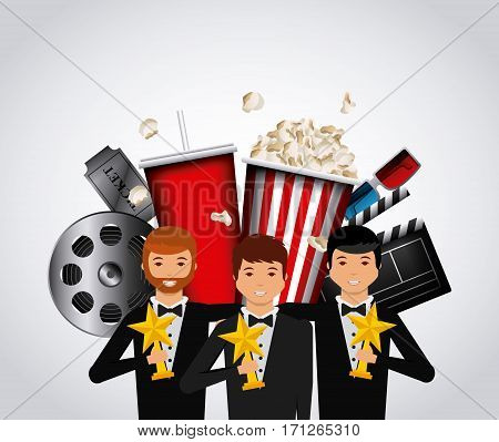 actors with golden trophies and cinema related icons over white background. colorful design. vector illustration