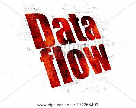 Information concept: Pixelated red text Data Flow on Digital background