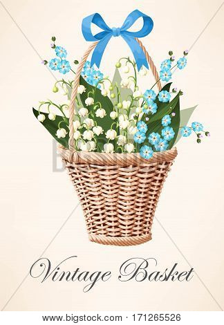 Vector illustration of vintage basket with beautiful flowers