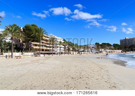 Peguera Beach Panorama And Mediterranean Sea On Majorca, Spain