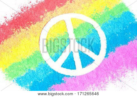 Peace sign on rainbow, no war concept