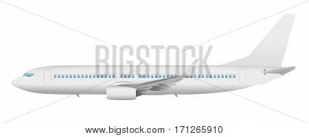 Airplane template vector side view on a white background