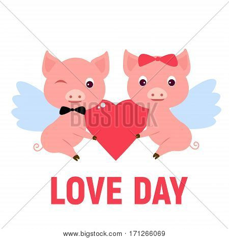 Angels pig boy girl holding scarlet heart and wish a happy valentines day