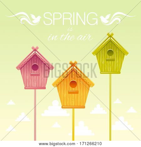 Nesting box birdhouse spring landscape vector illustration. Sunny sky square view. Text lettering flat logo with flying starling birds, clouds. Nature cartoon poster banner.