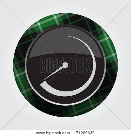 black isolated button with green black and white tartan pattern on the border - light gray gauge dial symbol icon in front of a gray background