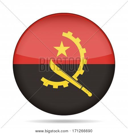 National flag of Angola. Shiny round button with shadow.