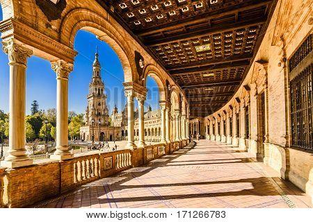Plaza de espana-Spain square-Seville, Andalusia, Spain, Europe. Traditional bridge detail