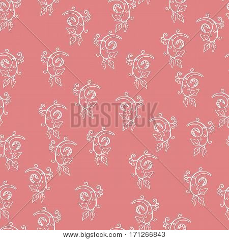 Floral seamless pattern. Sketchy hand drawn branches randomly placed on pink background. Can be used for textile wallpapers wrapping design. Easy changeable colors. EPS8 vector illustration.