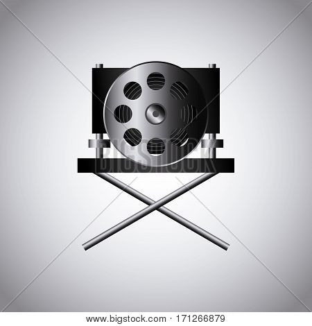 cinema reel film tape  and director chair icon over white background. colorful design. vector illustration