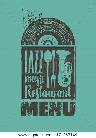 menu for the restaurant with jazz music vinyl records and cutlery
