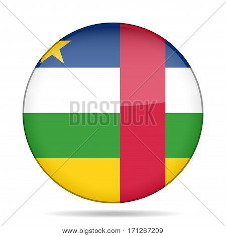 National flag of Central African Republic. Shiny round button with shadow.