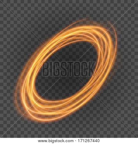 Smooth Light Orange Lines On Transparency Background Vector Illustration.