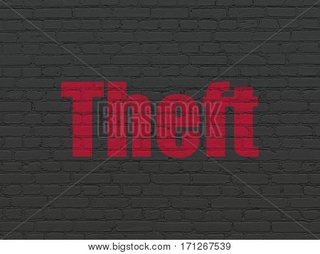 Security concept: Painted red text Theft on Black Brick wall background