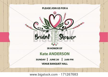 Bridal Shower Vector Template. Invitation With Text Please Join
