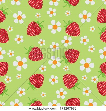 Strawberry meadow. Berries and flowers. pattern. Natural product. An environmentally friendly product. Design for ECO-labels. Farmers market, chefs, cooks.