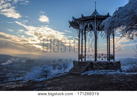 The Chinese arbor, the evening sky in clouds, a beautiful decline, a winter landscape, the city of Pyatigorsk