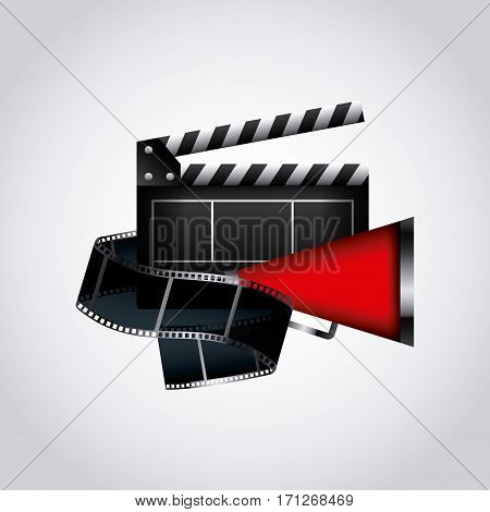 clapboard and megaphone over white background. colorful design. vector illustration