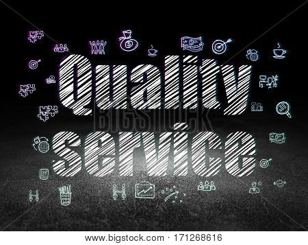 Finance concept: Glowing text Quality Service,  Hand Drawn Business Icons in grunge dark room with Dirty Floor, black background