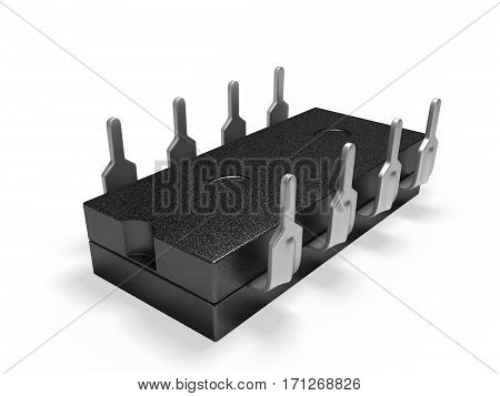 micro electronic chip on white background 3D