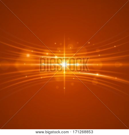 Smooth light orange waves lines and Lens Flares vector abstract background. Good for promotion materials, brochures, banners. Abstract Backdrop, Glowing effects.