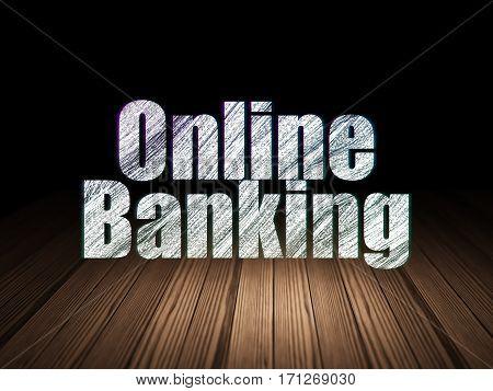 Business concept: Glowing text Online Banking in grunge dark room with Wooden Floor, black background