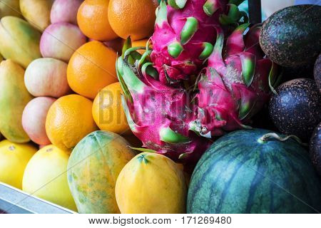 fresh tropical fruits in a street market
