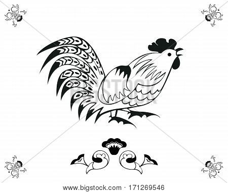 Monochrome cock in a folk style. One of the signs of the zodiac, the Chinese horoscope, folklore character.  Vector illustration in black and white. Horizontal location.