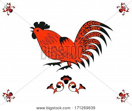 Monochrome cock in a folk style. One of the signs of the zodiac, the Chinese horoscope, folklore character. Vector illustration in red and black color. Horizontal location.