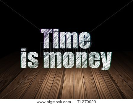 Timeline concept: Glowing text Time Is money in grunge dark room with Wooden Floor, black background