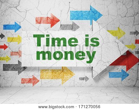 Time concept:  arrow with Time is Money on grunge textured concrete wall background, 3D rendering