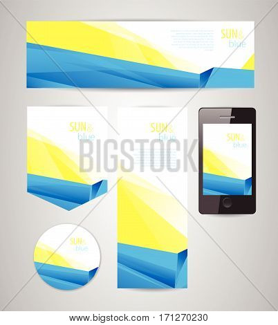 Sun and blue background / abstract yellow-blue design for different applications, banners and interfaces whith dinamic composition