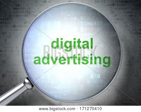 Marketing concept: magnifying optical glass with words Digital Advertising on digital background, 3D rendering