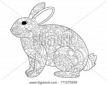 Vector illustration of the rabbit in zendoodle and ethnic style. Bunny tattoo, coloring page, t-shirt, card, poster, print design. Black and white lines hare. Lace pattern grass