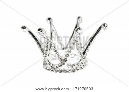Princess crown with crystals and diamonds isolated over white